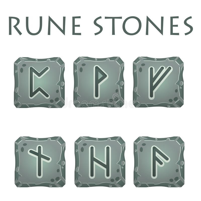 Set of Square Grey Rune Stones. Set of vector square grey stones with rune symbols. Perfect as game icons, elements vector illustration