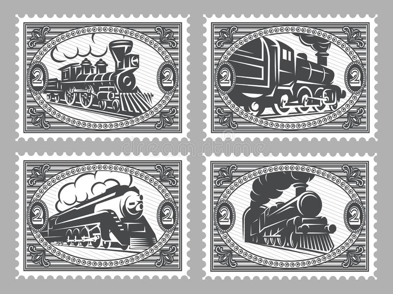 Set of vector stamps templates with retro trains.  vector illustration