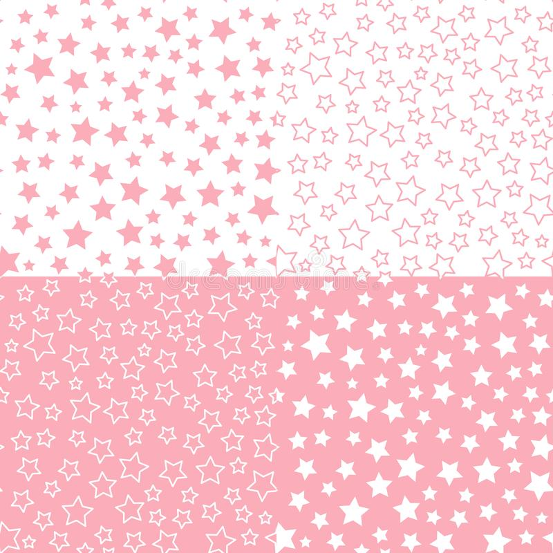 Set Vector star seamless pattern. Pink color palette background. Textile Design for baby shower stock illustration
