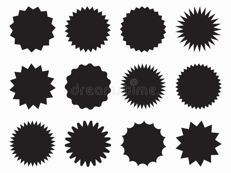 Set of vector starburst, sunburst badges. Black icons on white background. Simple flat style vintage royalty free illustration