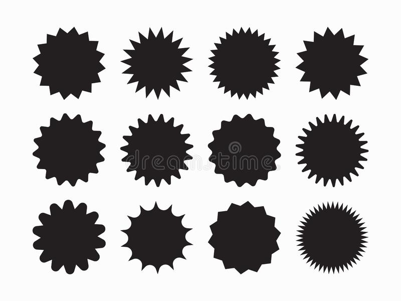 Set of vector starburst, sunburst badges. Black icons on white background. Simple flat style vintage labels, stickers. Vector illustration isolated on white royalty free illustration