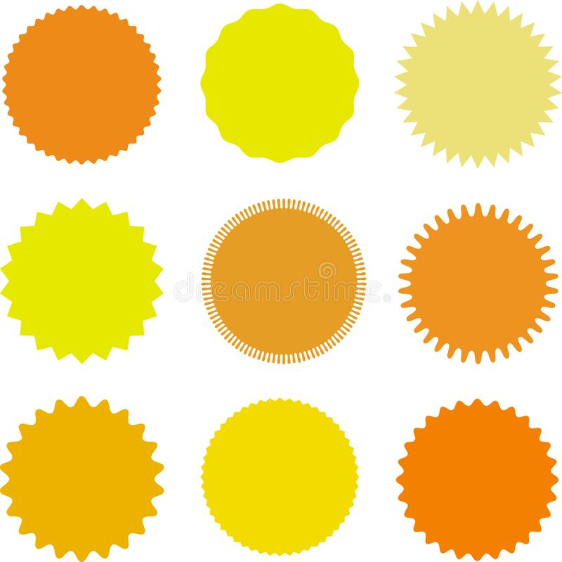 set of vector starburst sunburst badges different shades of yellow rh dreamstime com sunburst vector illustrator sunburst vector png
