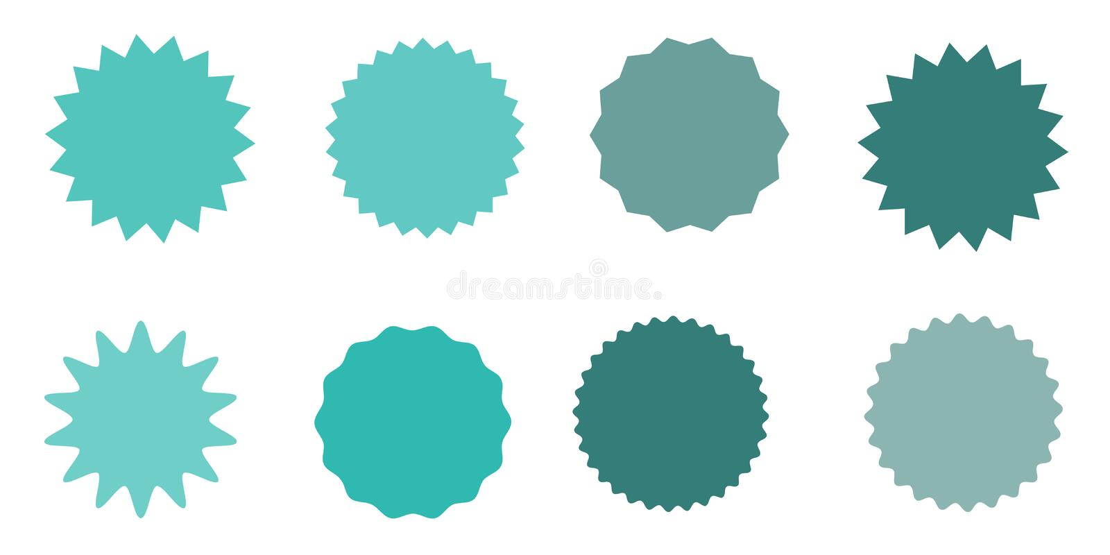 Set of vector starburst, sunburst badges. Vintage labels. Colored stickers. A collection of different types and colors icon. vector illustration