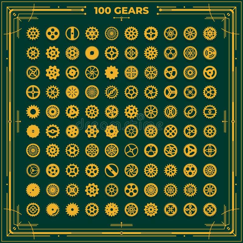 Vector steampunk gears set victorian era vintage design style clockwork illustration metal cogwheel designs for laser vector illustration