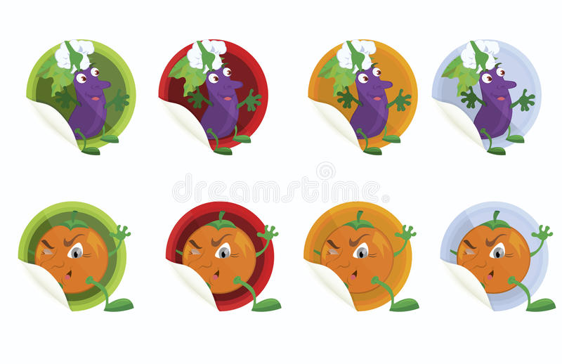 Download Set-of-vector-stickers-with-eggplant-and-orange Stock Vector - Image: 23653688