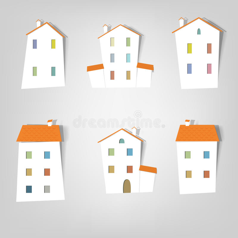 Set of vector stickers. Houses stock illustration