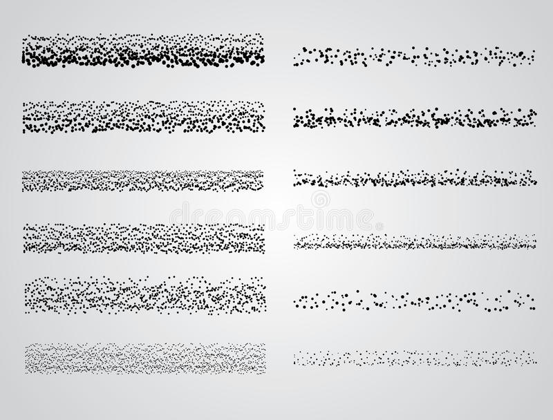 Set of Vector Stipple drawing brushes. Stipple pattern drawing brush set royalty free illustration
