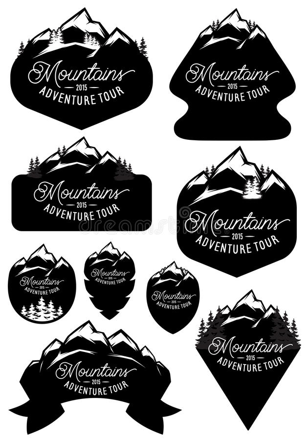 Set vector stylish retro badge templates with mountains and forests vector illustration