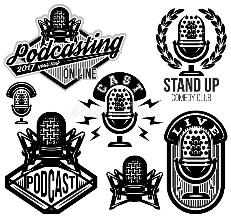 Set of vector stylish retro pattern with microphones, radio, podcast, show vector illustration