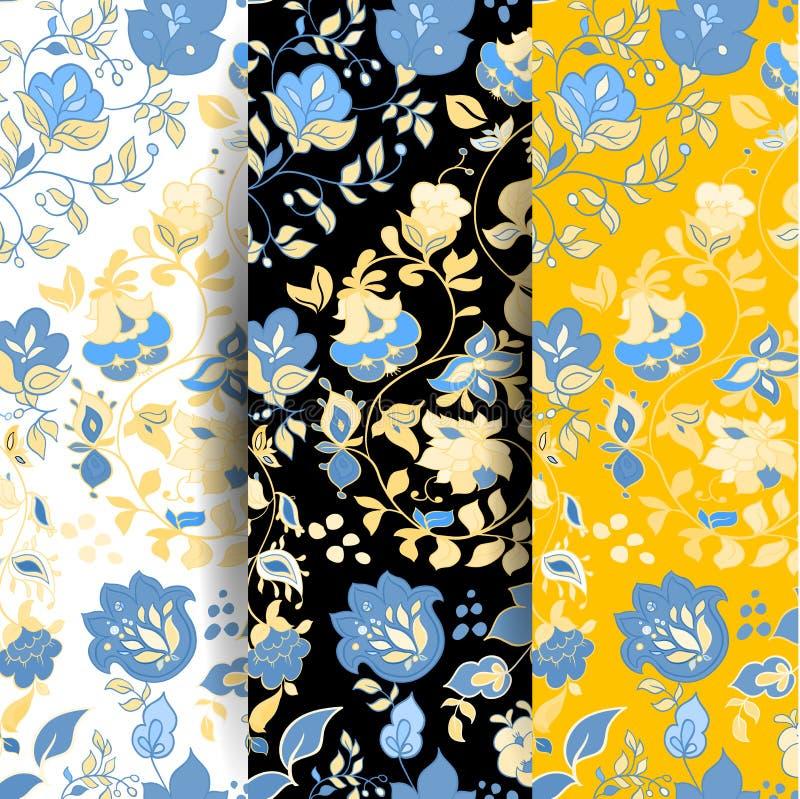 Set of Vector summer doodle seamless patterns. Floral background stock illustration