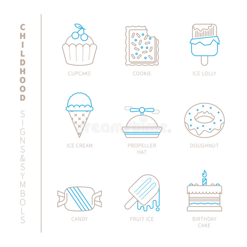 Set of vector sweet food icons and concepts in mono thin line style vector illustration