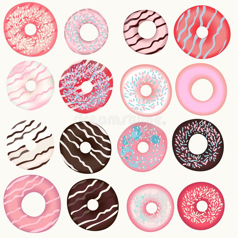Collection of vector sweet pink, brown, beige donuts for design royalty free illustration