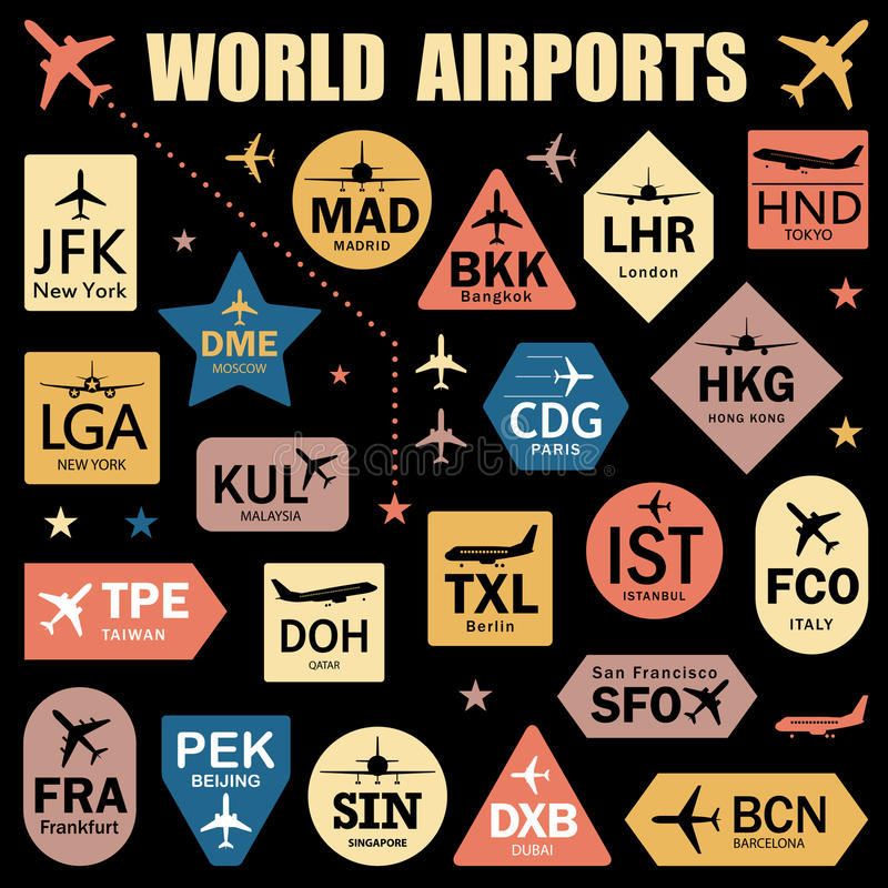Set of Vector Tags with World Airport Codes royalty free illustration
