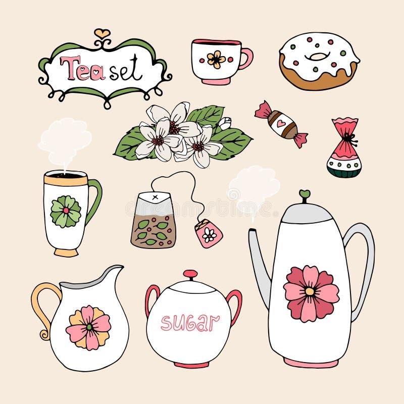 Set of vector tea service icons stock illustration