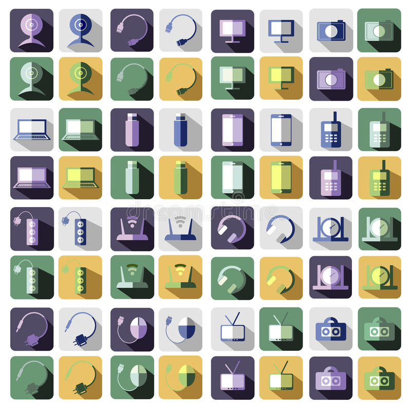 Set of vector technology flat icons of PC, monitor, headphones, router, battery, USB flash drive, web camera stock illustration