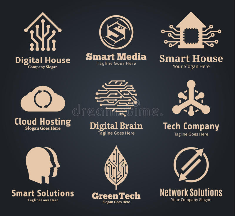 Set of vector technology, network and computer science logo. Technology, communication and science badges, icons and design elements. Creative technology label vector illustration