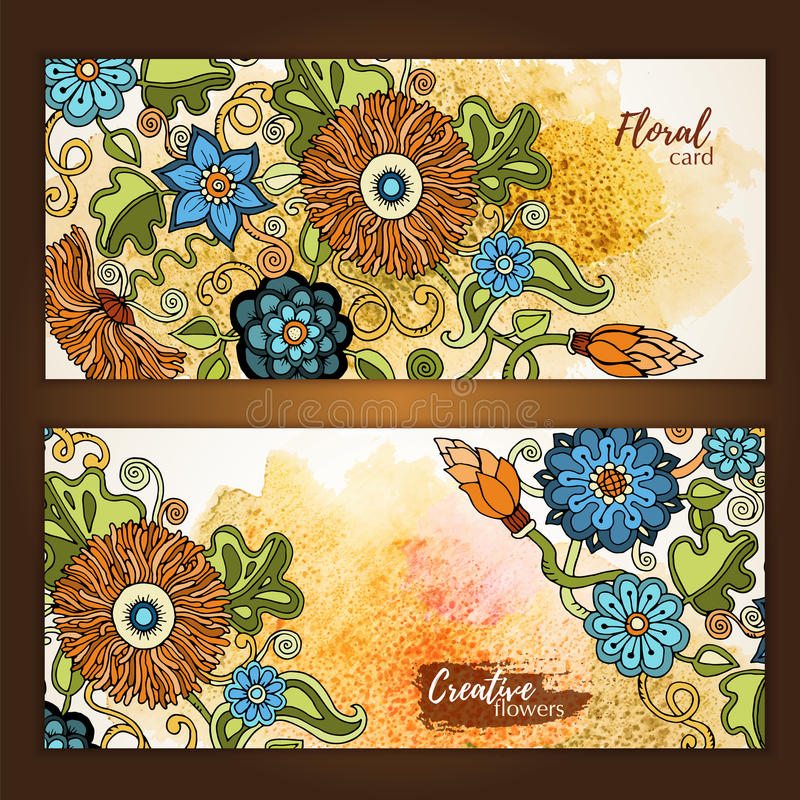 Set of vector template banners with watercolor paint abstract background and doodle hand drawn flowers. Series of image Template frame design for card vector illustration