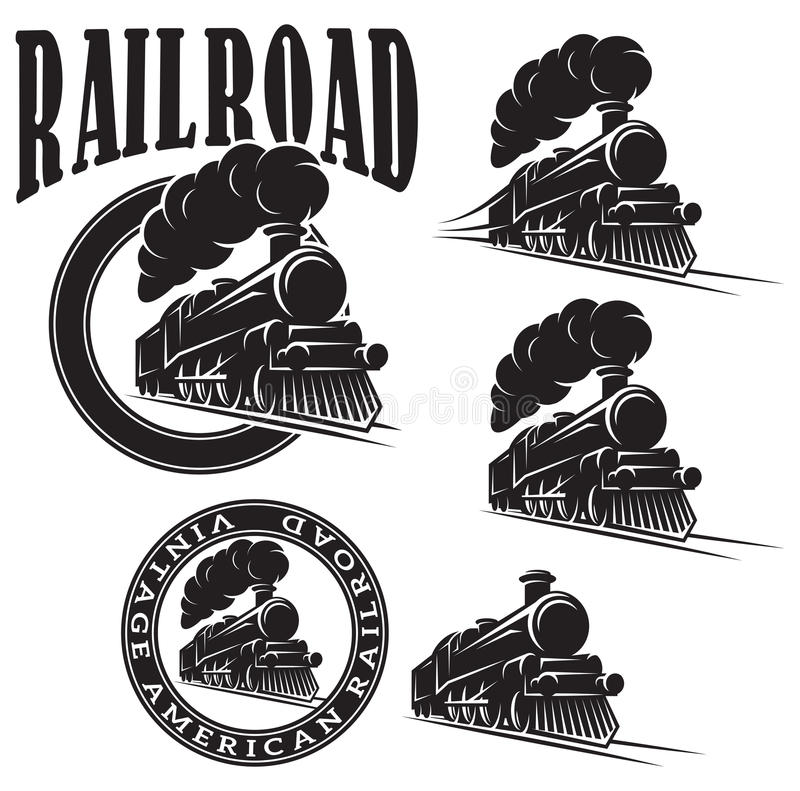 Set of vector templates with locomotive, vintage train stock illustration
