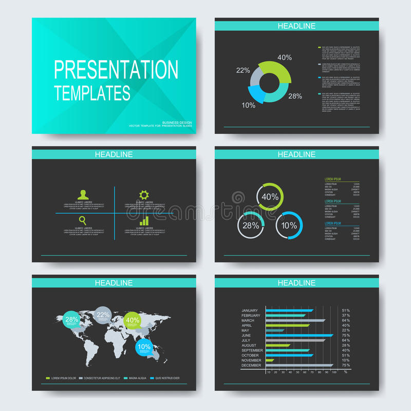 Set of vector templates for multipurpose presentation slides. Modern business design with graph and charts stock illustration