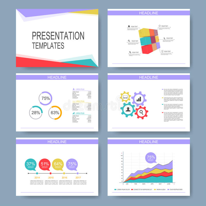 Download Set Of Vector Templates For Multipurpose Presentation Slides.  Modern Business Design With Graph And  Graph Charts Templates