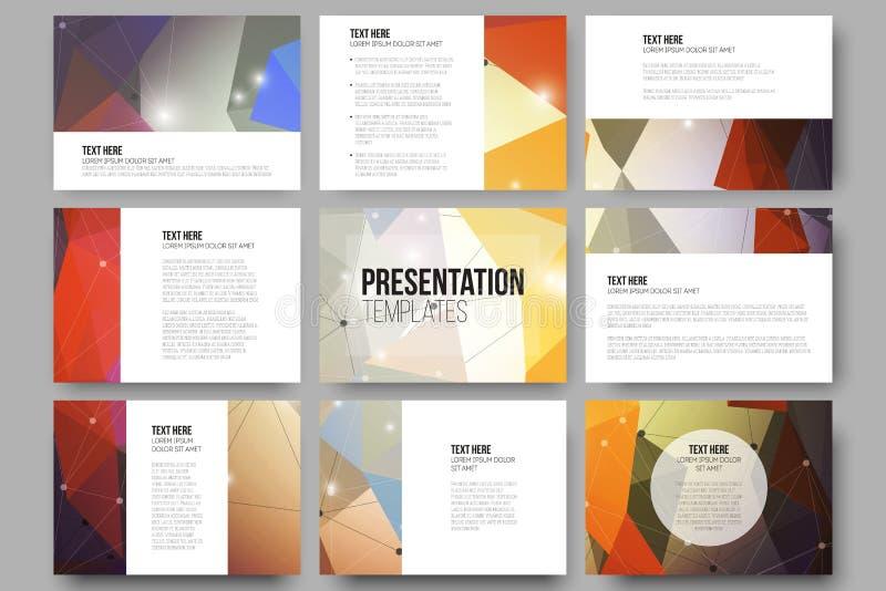 Set of 9 vector templates for presentation slides stock illustration