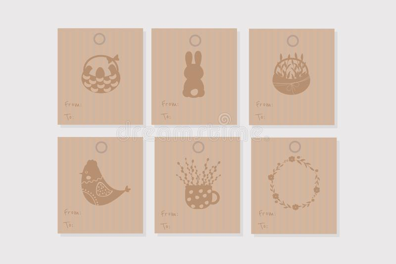 Set of 6 vector ``from to`` gift tags in craft paper style. Simple design. Set of 6 vector Easter ``from to`` gift tags in craft paper style. Simple design royalty free illustration