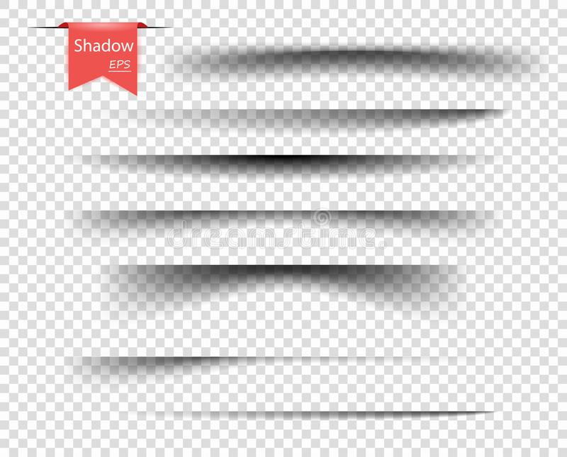 Set of vector transparent overlay shadows. Realistic design elements on an isolated transparent background for your design. Eps vector illustration