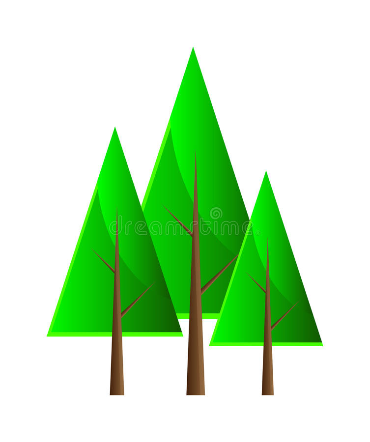 Set of vector trees. Isolation over white background royalty free illustration