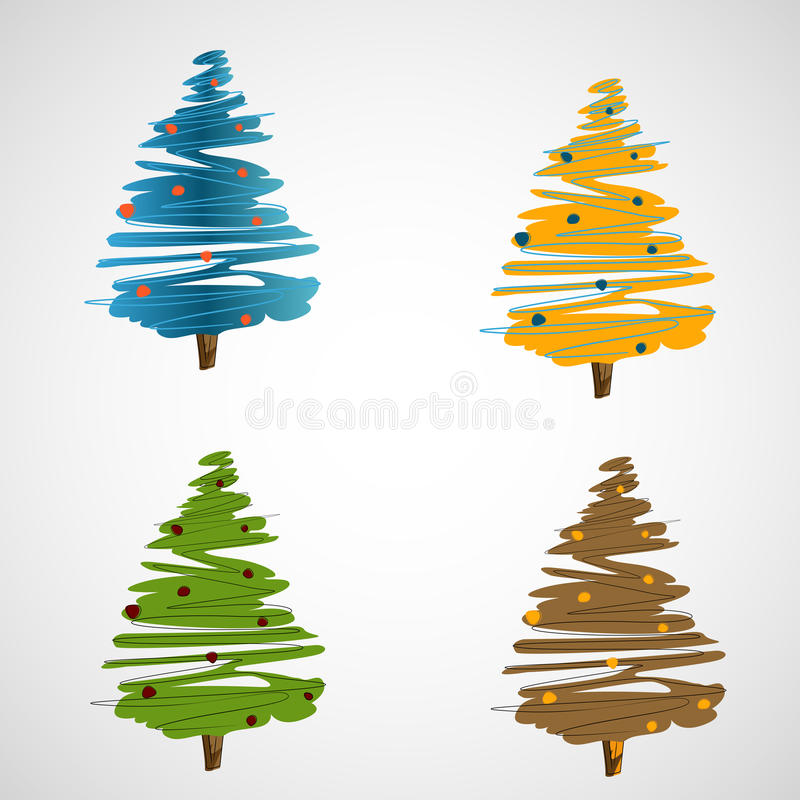Set of vector trees on a light background vector illustration