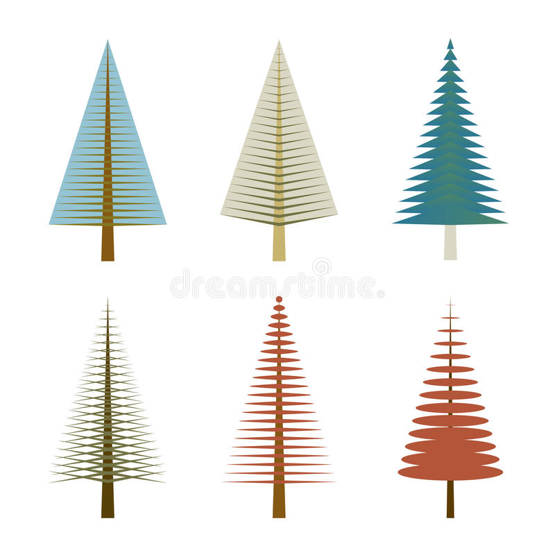 Set of vector trees on white background stock photo
