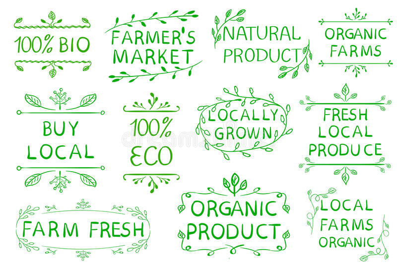 Set of VECTOR typographic elements. Farmers market, farm fresh eco food on white background. Green lines. Set of VECTOR typographic elements. Farmers market stock illustration