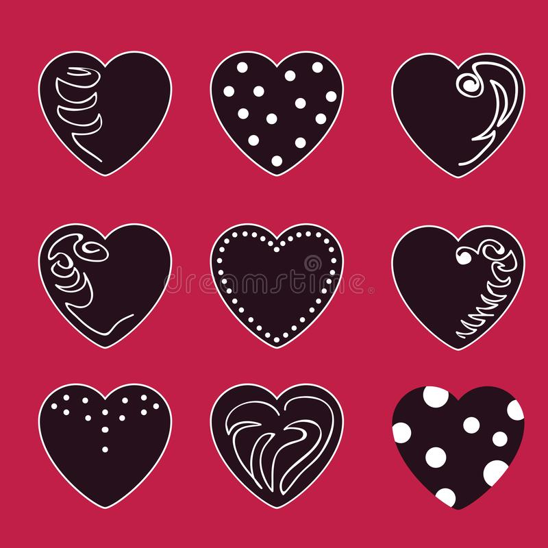 Set of vector valentines made of nine hearts. The main colors are black and white. Valentines in the Gothic style royalty free illustration