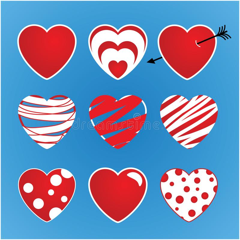 Set of vector valentines made of nine hearts. The main colors red and white. stock illustration