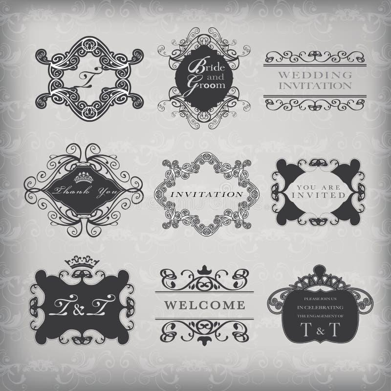 Set of vector vintage frames royalty free illustration