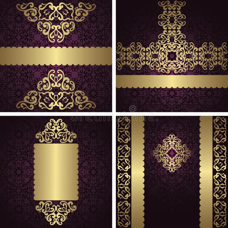 Set of vector vintage luxury cards with seamless backgrounds vector illustration