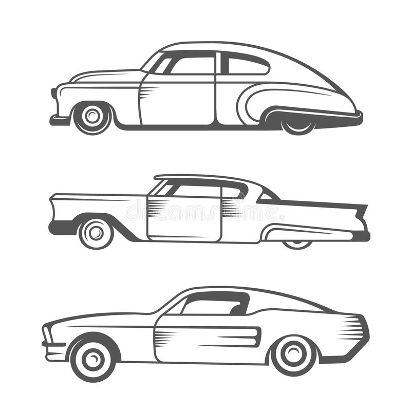 Set Vintage Lowrider Cars And Elements Design Collection Black White Classic Old Retro Car