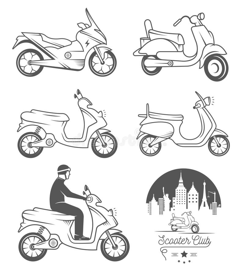 Set Vector Vintage Sign and Logos Scooter. Set vintage scooter and motorcycle logos, badges, sign, icon and isolated silhouettes. Collection hand drawn stock illustration