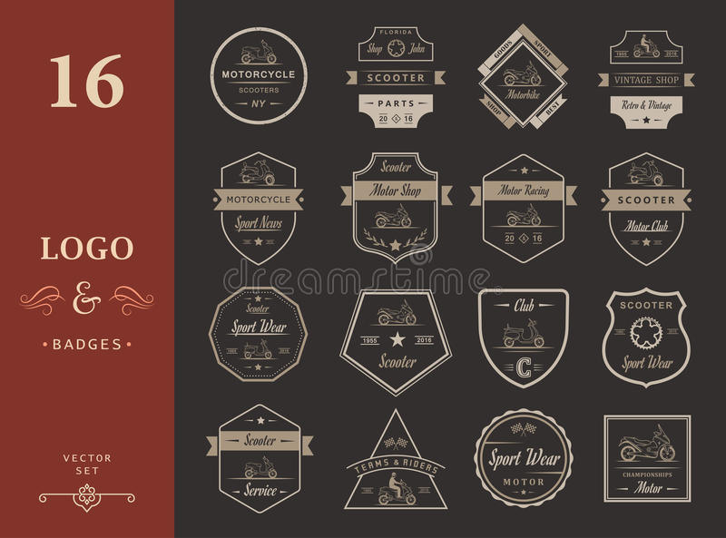 Set Vector Vintage Sign and Logos Scooter. Set vintage scooter and motorcycle logos, badges, sign, icon and isolated silhouettes. Collection hand drawn vector illustration
