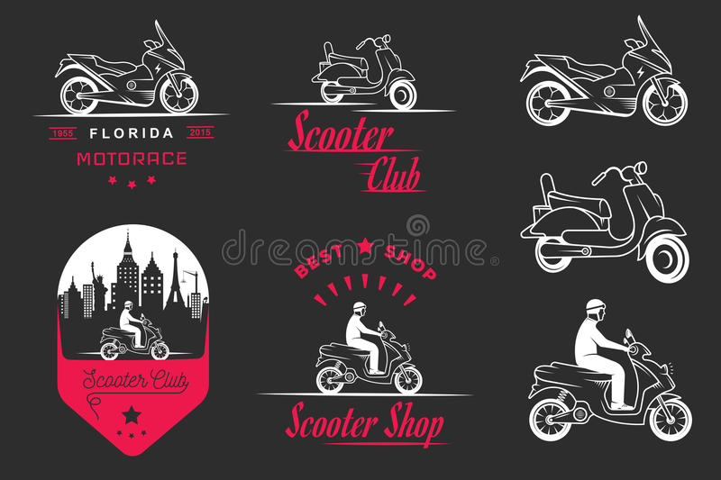 Set Vector Vintage Sign and Logos Scooter. Set vintage scooter and motorcycle logos, badges, sign, icon and isolated silhouettes. Collection hand drawn royalty free illustration