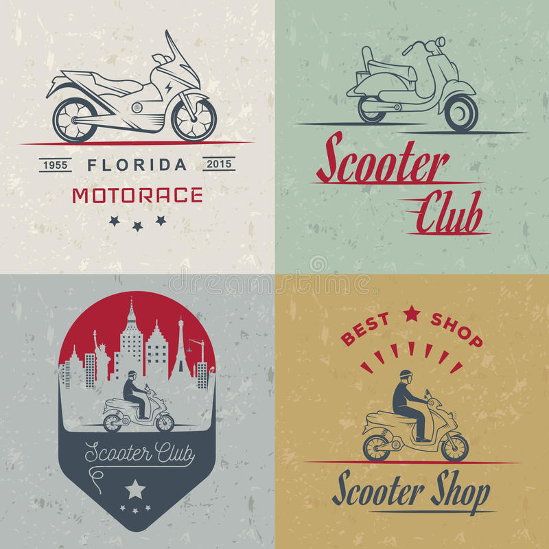 Set Vector Vintage Sign and Logos Scooter. Set vintage scooter and motorcycle logos, badges, sign, icon and silhouettes. Collection hand drawn equipments, retro stock illustration