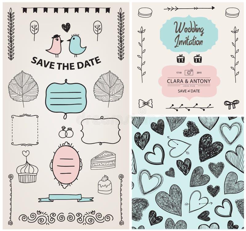 Set of vector vintage wedding invitation design royalty free illustration