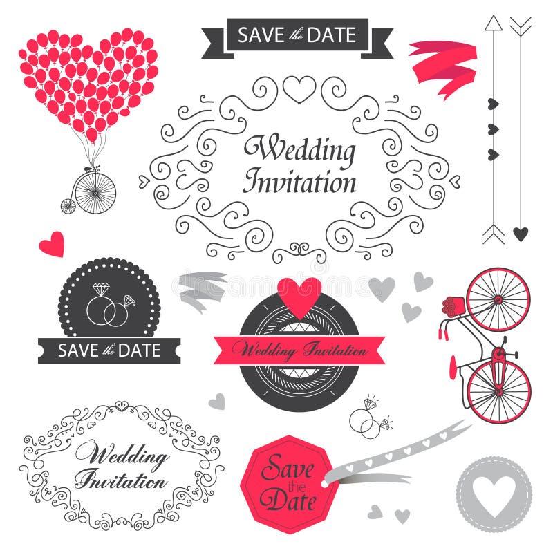 Set of vector vintage wedding invitation design vector illustration