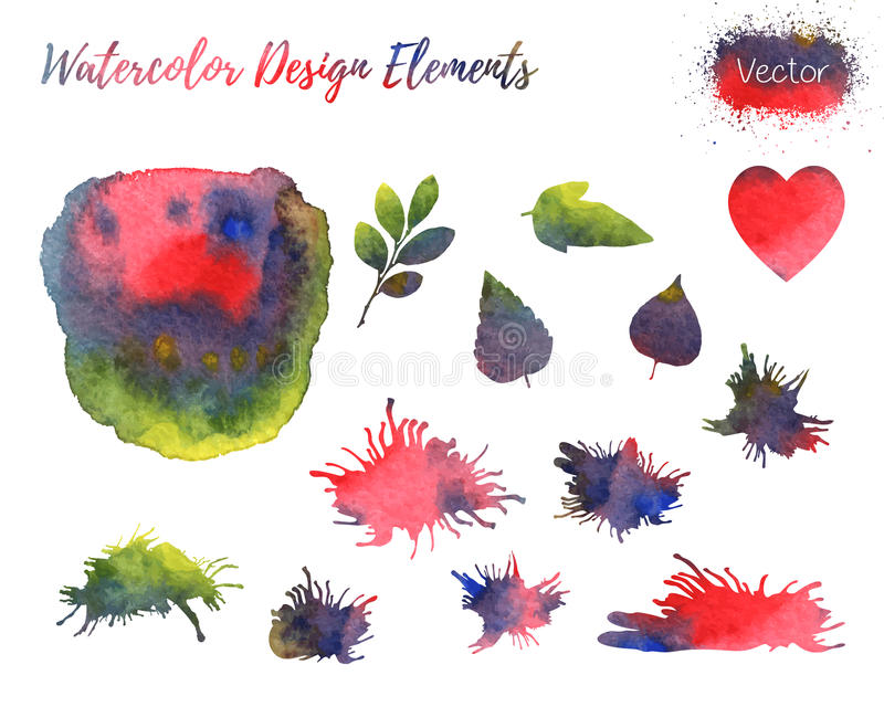 Set of vector watercolor design elements. Set of hand painted watercolor vector design elements. Hearts, leaf shapes and paint blots isolated on a white vector illustration