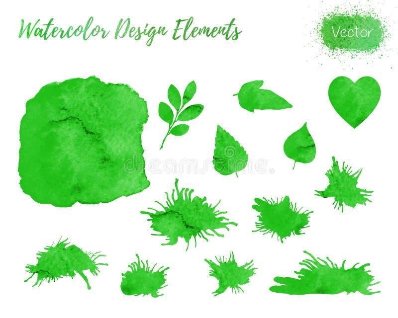 Set of vector watercolor design elements. stock illustration