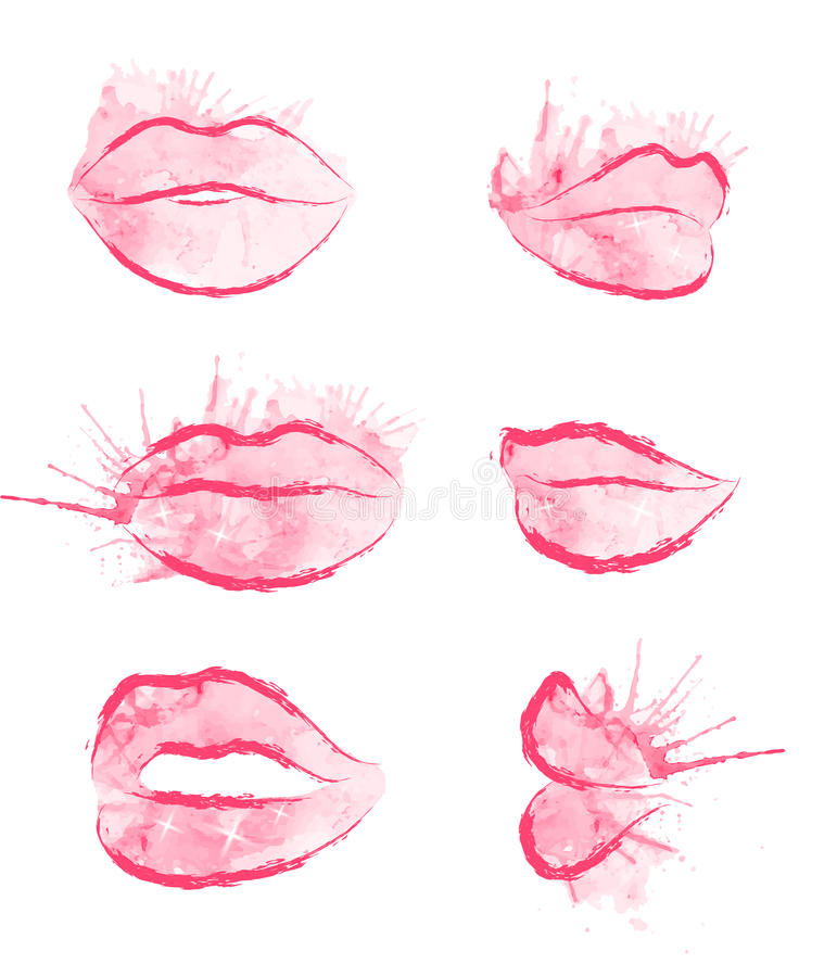 Set of vector watercolor lips vector illustration