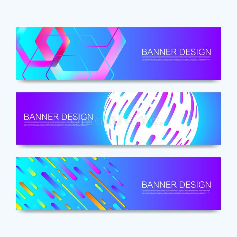 Set of vector web banners of standard sizes for sale with a place for text. Horizontal templates with hexagons, colorful stock illustration