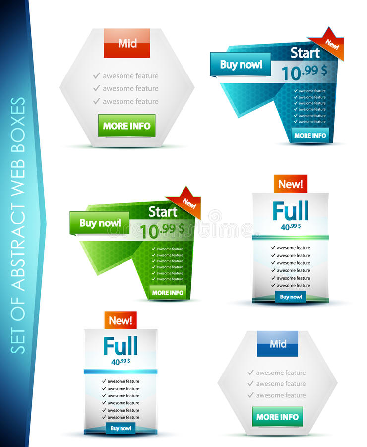 Download Set of vector web boxes stock vector. Image of advertisement - 25813230