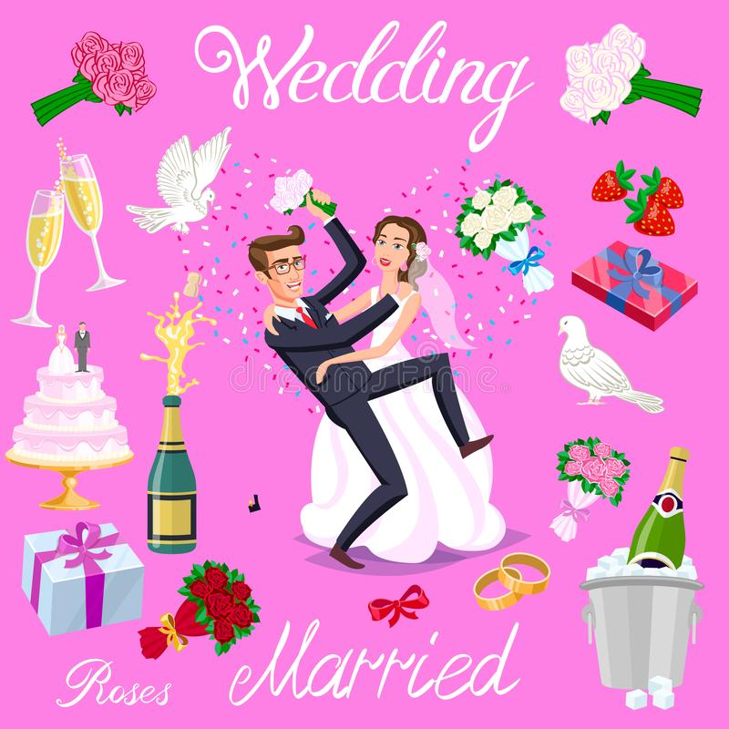 Set vector wedding just married couple with hearts avatars characters. roses flowers champagne cake newlyweds pigeons gifts rings vector illustration