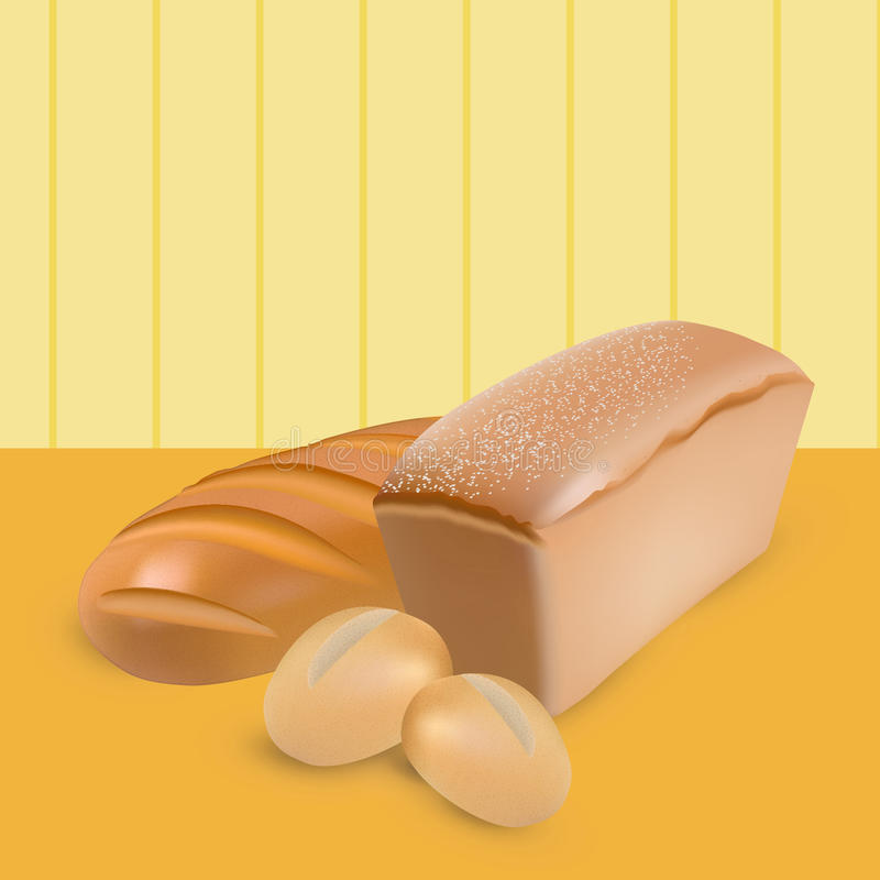 Set of vector wheat bread, loaf and buns on yellow stripped background. Set of wheat bread, loaf and buns on yellow stripped background royalty free illustration
