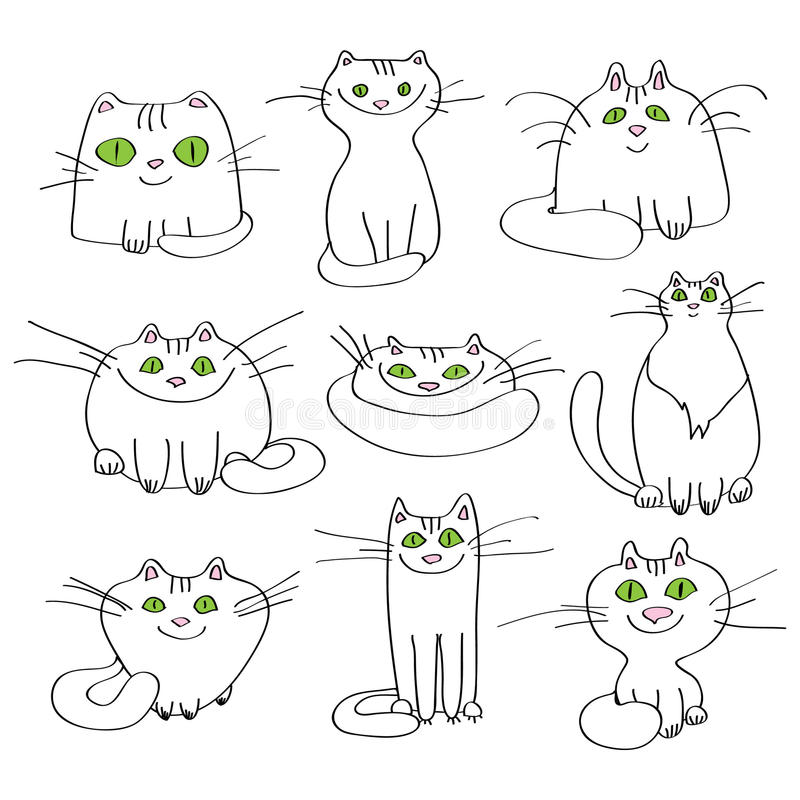 Download Set of vector white cats stock vector. Image of doodles - 36203012